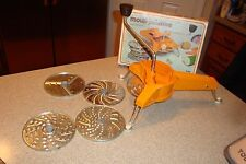 VINTAGE MOULI JULIENNE 445 ROTARY SHREDDER GRATER SLICER ORANGE 5  DISKS