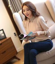 Fashion Women Ladies Ruffle Collar Long Sleeve Chiffon Blouse OL Shirt Tops Pink