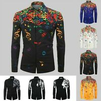 Men Casual Novelty Musical Note Pattern Turn-down Blouse Long Sleeves Shirt Tops