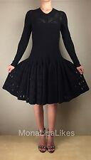 New ALAIA Black Long Sleeve Laser Cut Embossed Fitted Full Skirt Wool Dress 40