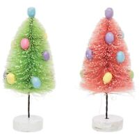 "Set/2 8"" Pastel Candy Egg Bottle Brush Tree Pink Green Retro Easter Mantle Decor"