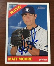 MATT MOORE 2015 TOPPS HERITAGE AUTOGRAPHED SIGNED AUTO BASEBALL CARD 196 RAYS