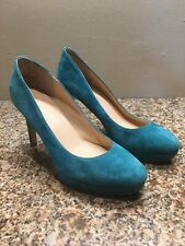 Ivanka Trump Turquoise Suede Stiletto Pumps High Heel Shoe 6 M Prom Party