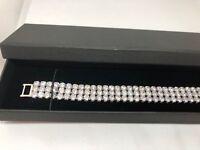 Silver DIAMONIQUE Cuff  6.9 ct Bracelet  Extendable 19.5cm Free Box