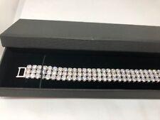 Silver DIAMONIQUE Cuff  6.9 ct Bracelet  Extendable 19.5cm Luxury Box