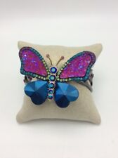 $95 Betsey Johnson BUTTERFLY DREAMS Pave Crystals Hinge Cuff Bracelet F1