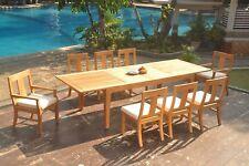 "9pc Grade-A Teak Dining Set 122"" Caranas Rectangle Table 8 Osborne Chair Outdoor"