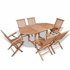 vidaXL Oval Dining Table 6 Folding Chairs Garden Furniture Outdoor Patio Teak