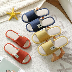 Warm Shoes Slippers Home Floral Soft Couple House Indoor Floor Non-slip Linen JH