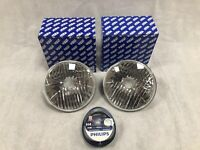 """Wipac 7"""" Crystal clear headlamps with H4 Bulbs Philips (Pair) **Brand New**"""