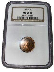 OLD 1931 S 1C LINCOLN PENNY MS 64 RB Wheat Graded