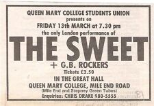 The SWEET UK TIMELINE Advert - Queen Mary Col London Fir-13-Mar-1981 2x3 inches
