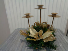 BNIB Decorated Triple Candle Holder Table Christmas Decoration~Gold/Cream 23cm
