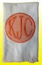 New White Coral Cotton Terry Embroidered Round Motif Monogrammed Hand Towel