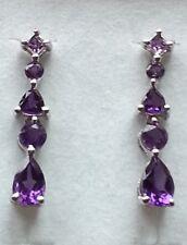Platinum Overlay 925 Sterling Silver Amethyst Earrings - #9