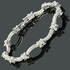 Clear Flower 18K White Gold Gp Round CZ Zirconia White Topaz Tennis Bracelet