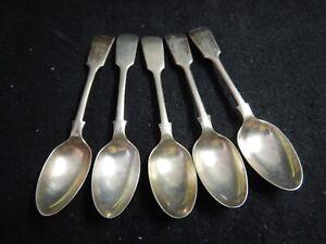 5 antique EP spoons GS German silver XXH