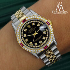 Women's Rolex 31mm Datejust 2 Tone Black String Accent Dial Ruby & Diamond Watch