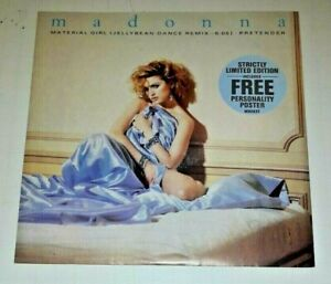 """MADONNA ~ MATERIAL GIRL ~ JELLYBEAN DANCE REMIX ~ 12"""" SINGLE WITH POSTER"""