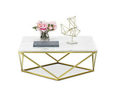 Deco Luxe Coffee Table Square Brushed Gold White Marble Top Hollywood Regency