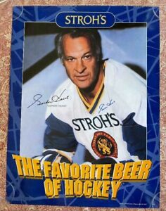 Autographed Gordie Howe Stroh's Beer Poster RARE 18 x 24