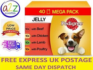 40 x 100g Pedigree Adult Wet Dog Food Pouches Mixed Selection in Jelly