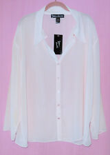 SUSAN LUCCI WOMEN'S 1X PINK SHEER BLOUSE/SLEEPSHIRT BUTTON DOWN *NWT*
