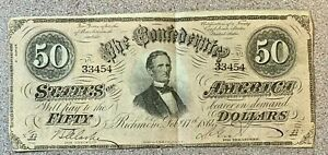 1864 $50 Confederate States America Note * Richmond Virginia VA * CSA * Obsolete
