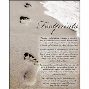 "Footprints Plaque It was then that I Carried You 10""x8"" Lord God Jesus Christ"
