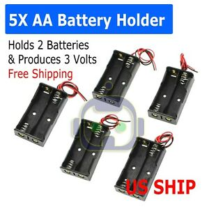 """5Pcs Battery Holder Case Box with 3"""" Wire Leads for 2X Series AA Batteries 3V US"""