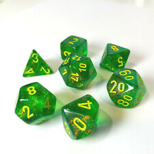 Chessex Borealis Maple Green w/ Yellow Polyhedral Set 7 Dice - 27565 - New - Bag