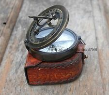 Vintage Nautical Astrolabe Working Compass Handmade Style Brass Compass W/ Case