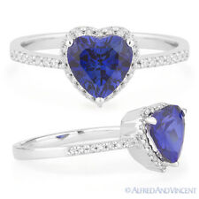 1.97 ct Heart-Shape Blue Corundum Diamond Right-Hand Promise Ring 14k White Gold