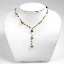 17.92ctw Amethyst, Citrine, Peridot & Topaz 14K Solid Yellow Gold Necklace