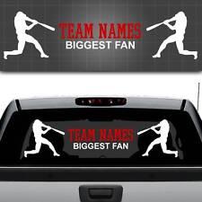"Baseball Team Biggest Fan Window Decal, Personalized Baseball Sticker 44"" x 12"""