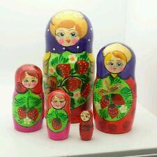 Traditional Russian Matryoshka Hand Painted Nesting set of 5 Dolls Sevenova doll