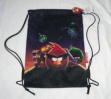 Black Angry Birds Drawstring Backpack Rovio Licensed Sling Tote School Gym Bag