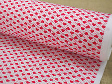 100% COTTON FABRIC +++ SMALL  HEARTS + RED ON WHITE