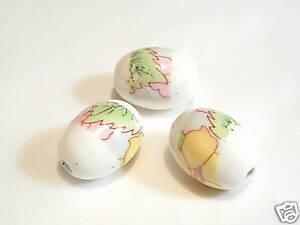 10 pcs x Oval Porcelain Beads : Porc99 Floral