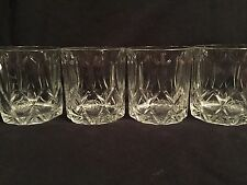 CROWN ROYAL CANADIAN WHISKY VTG EMBOSSED DRINK GLASSES BAR MAN CAVE SET OF 4
