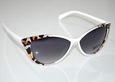 Lunettes de soleil femme blanc léopard tacheté brun noir lentilles cat eyes G6