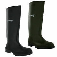 Dunlop Rubber Wellington Boots Mens Wellies Snow Black Green UK6-12