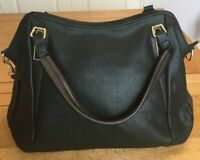 Chis Paulo Handbag Black & Brown NWT Tote Shoulder Cross body Bag Faux Leather
