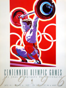 Rare Atlanta 1996 Olympics WEIGHTLIFTING Official Event POSTER Print