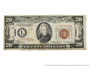 Twenty Dollars Stamped Hawaii Liars Poker 1934 A Currency Federal Reserve Note