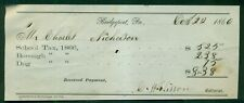 1866 Bridgeport,PA Tax Receipt with Dog Tax