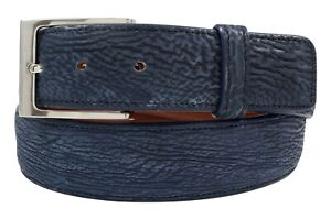 Genuine Handmade Safari Blue Shark Leather Belt (Made in U.S.A)