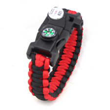 Paracord Bracelet with LED Light Compass Whistle Flint Survival Camping Gear Kit