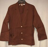 Vintage Women's Marc O'Polo Handwoven Cotton Brown 3-Button Career Jacket Blazer