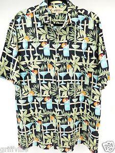 Campia Moda Size M Medium Mens Short Sleeve Rayon Martini Print Camp Shirt